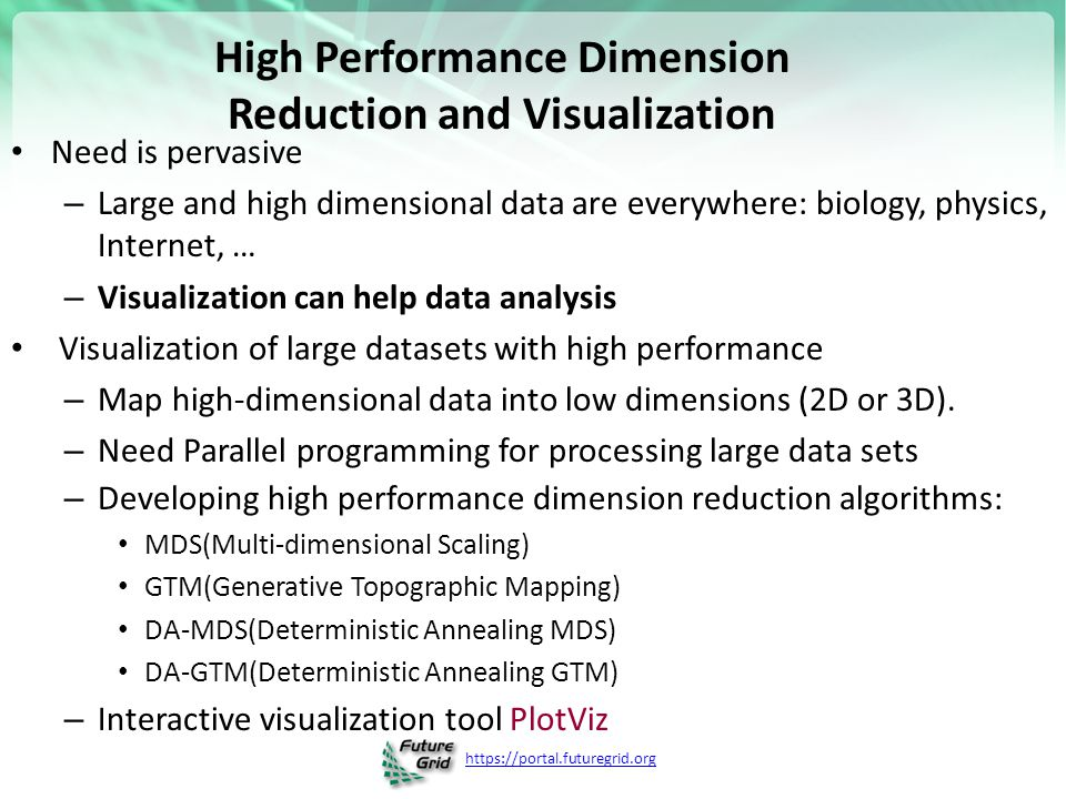 High Performance Dimension Reduction and Visualization