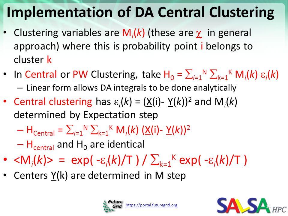 Implementation of DA Central Clustering