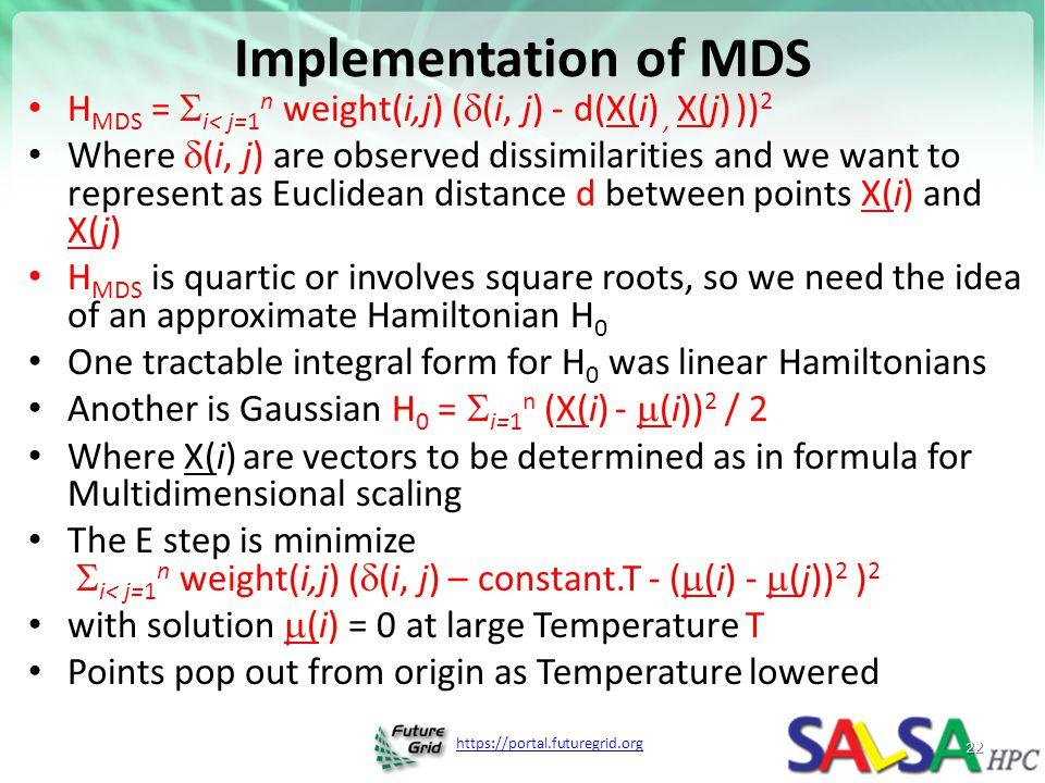 Implementation of MDS HMDS = i< j=1n weight(i,j) ((i, j) - d(X(i) , X(j) ))2.
