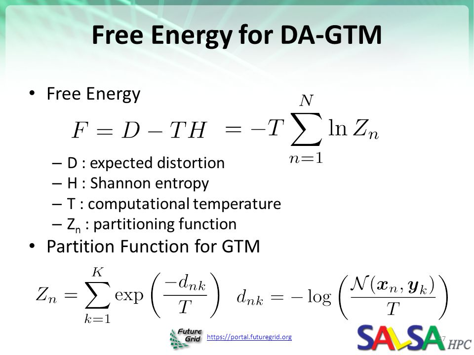 Free Energy for DA-GTM Free Energy Partition Function for GTM