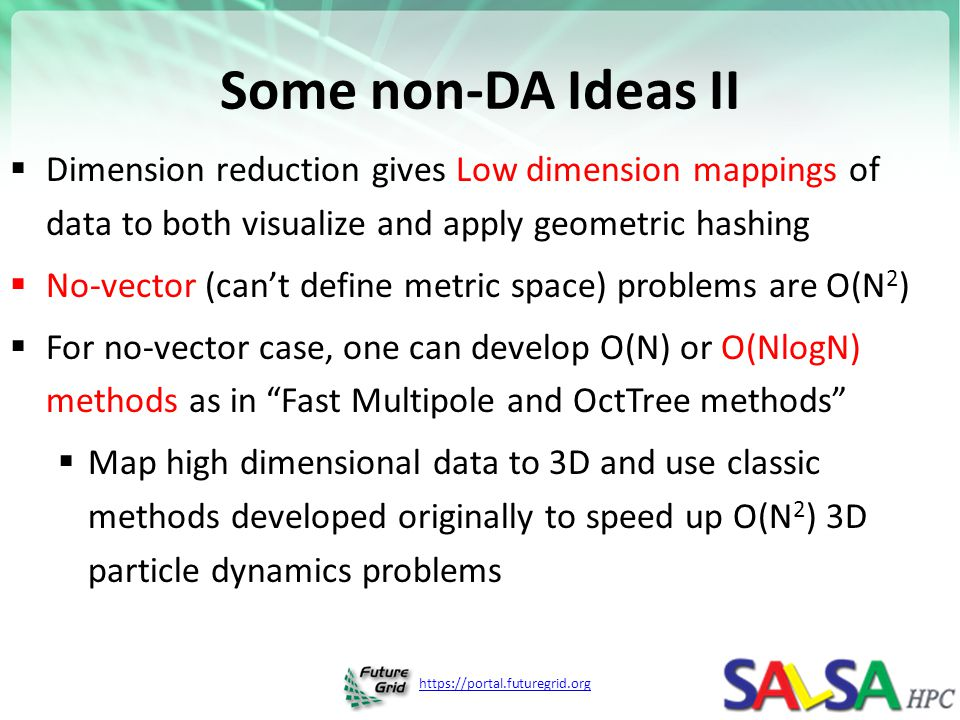 Some non-DA Ideas II Dimension reduction gives Low dimension mappings of data to both visualize and apply geometric hashing.