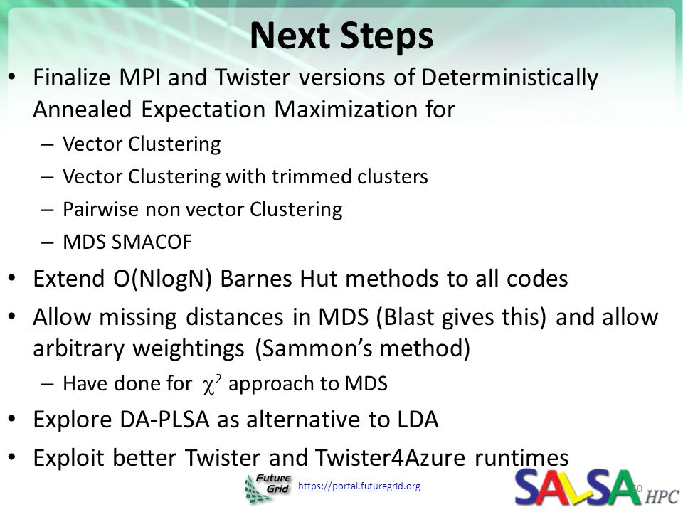 Next Steps Finalize MPI and Twister versions of Deterministically Annealed Expectation Maximization for.