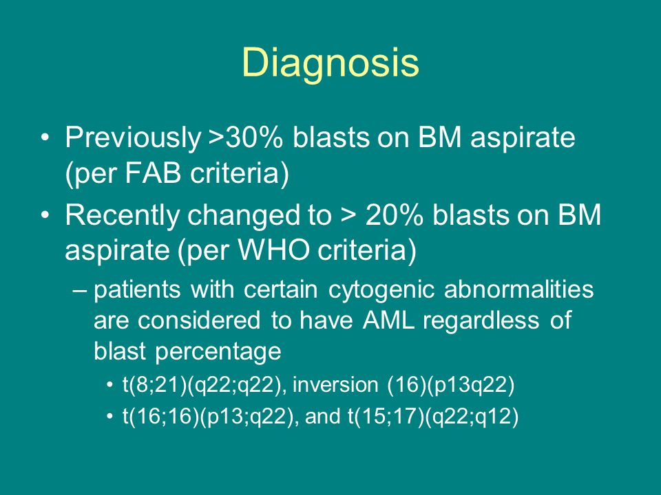 Diagnosis Previously >30% blasts on BM aspirate (per FAB criteria)