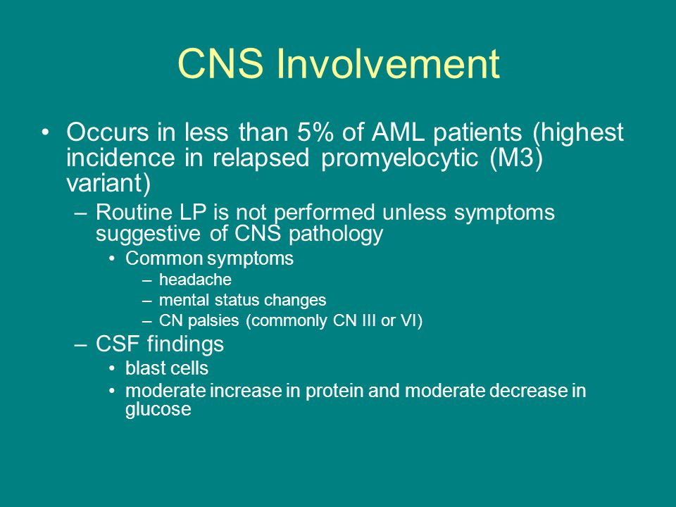 CNS Involvement Occurs in less than 5% of AML patients (highest incidence in relapsed promyelocytic (M3) variant)