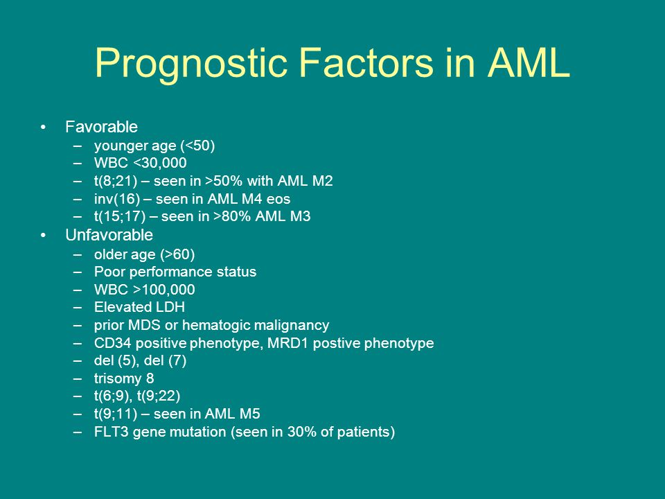 Prognostic Factors in AML