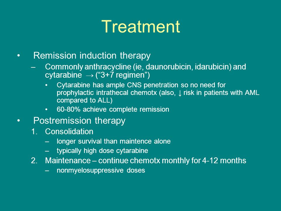 Treatment Remission induction therapy Postremission therapy