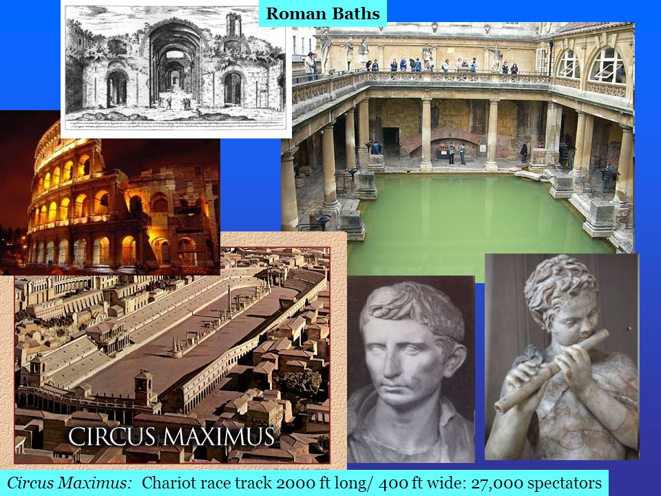 Roman Baths Circus Maximus: Chariot race track 2000 ft long/ 400 ft wide: 27,000 spectators