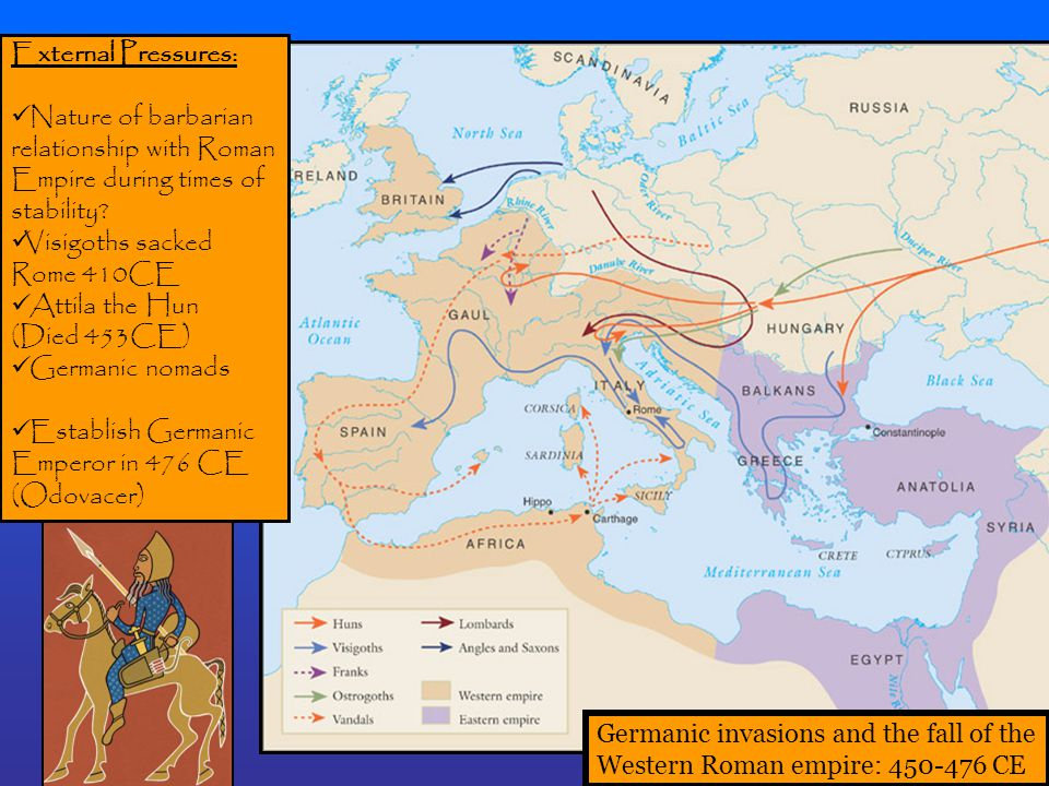 External Pressures: Nature of barbarian. relationship with Roman. Empire during times of. stability