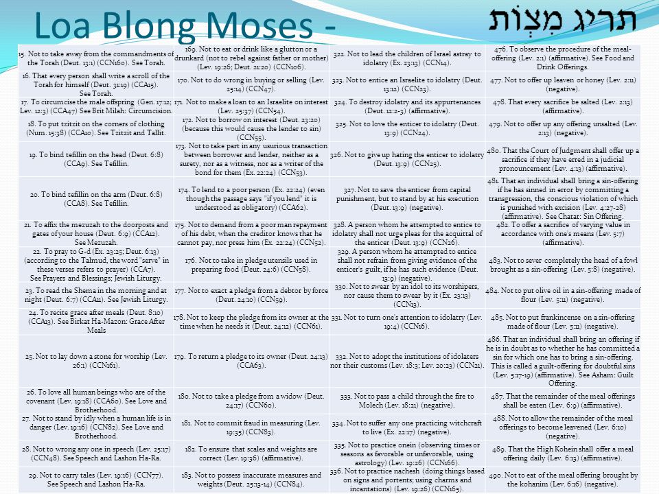 Loa Blong Moses - 15. Not to take away from the commandments of the Torah (Deut. 13:1) (CCN160). See Torah.