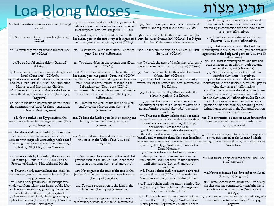 Loa Blong Moses - 60. Not to smite a father or a mother (Ex. 21:15) (CCN44).