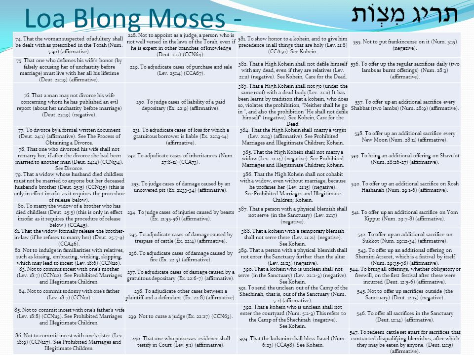 Loa Blong Moses - 74. That the woman suspected of adultery shall be dealt with as prescribed in the Torah (Num. 5:30) (affirmative).