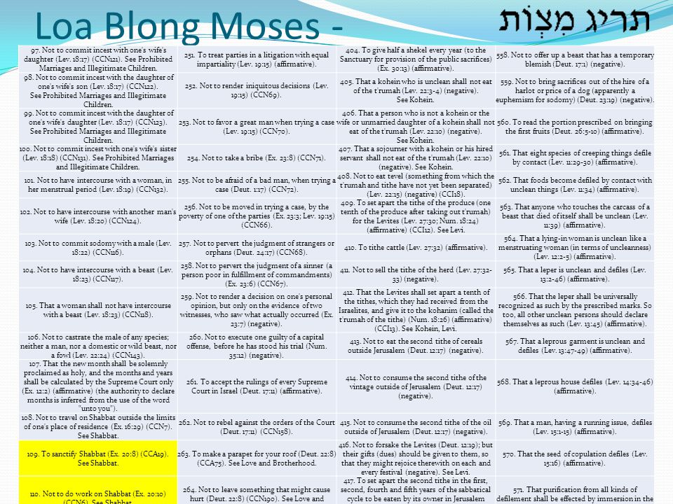 Loa Blong Moses - 97. Not to commit incest with one s wife s daughter (Lev. 18:17) (CCN121). See Prohibited Marriages and Illegitimate Children.