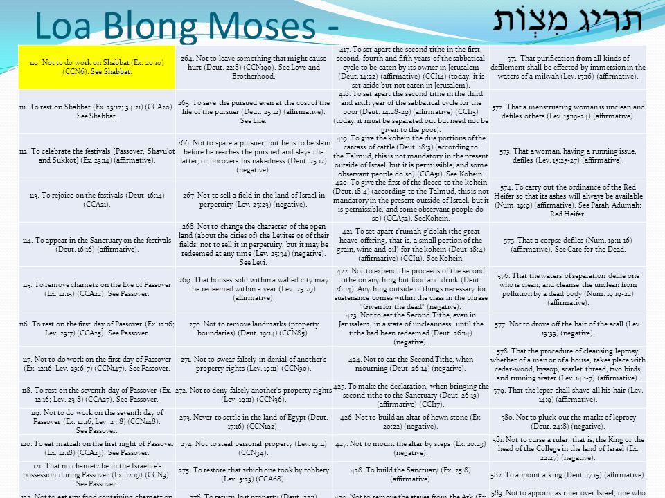 Loa Blong Moses - 110. Not to do work on Shabbat (Ex. 20:10) (CCN6). See Shabbat.