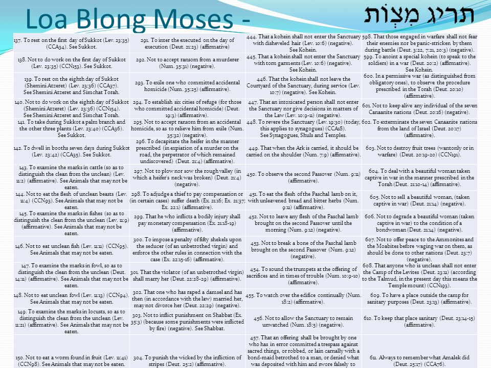 Loa Blong Moses - 137. To rest on the first day of Sukkot (Lev. 23:35) (CCA34). See Sukkot.