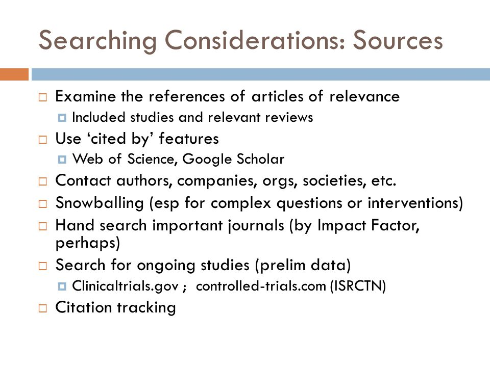 Searching Considerations: Sources