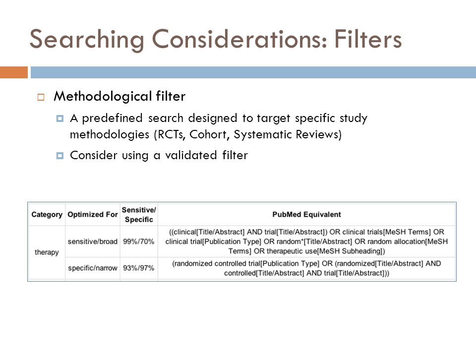 Searching Considerations: Filters