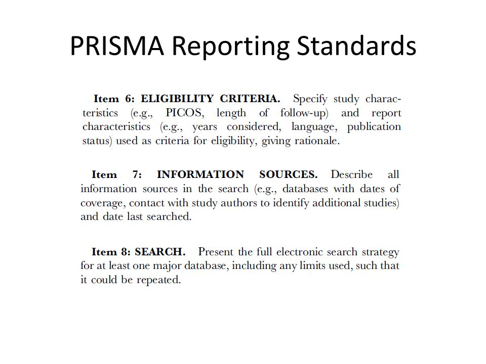PRISMA Reporting Standards