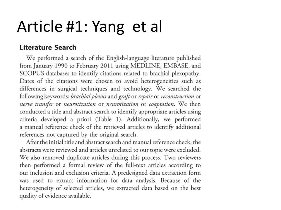 Article #1: Yang et al