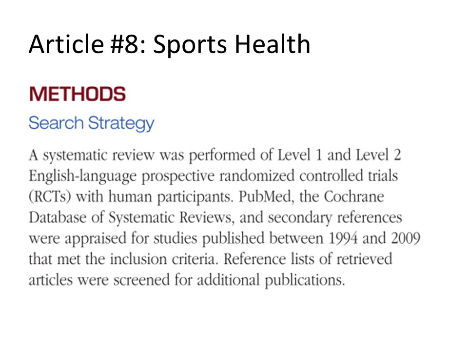 Article #8: Sports Health
