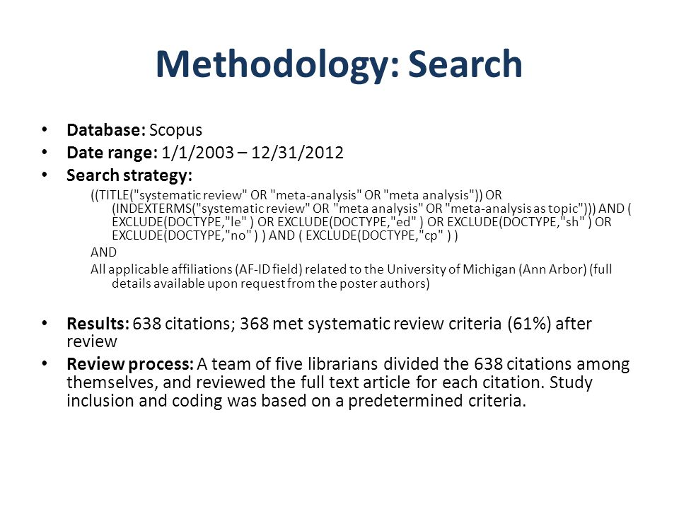 Methodology: Search Database: Scopus Date range: 1/1/2003 – 12/31/2012