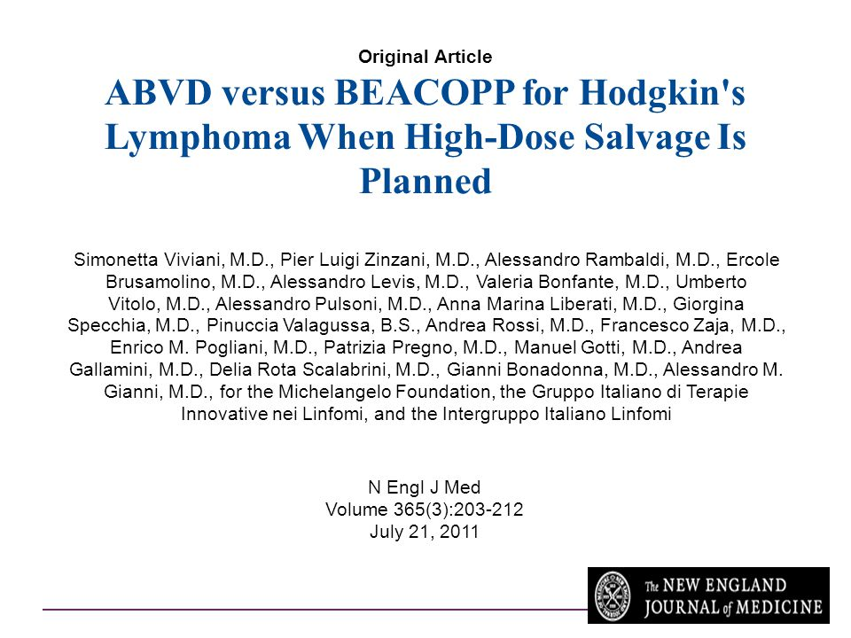 Original Article ABVD versus BEACOPP for Hodgkin s Lymphoma When High-Dose Salvage Is Planned