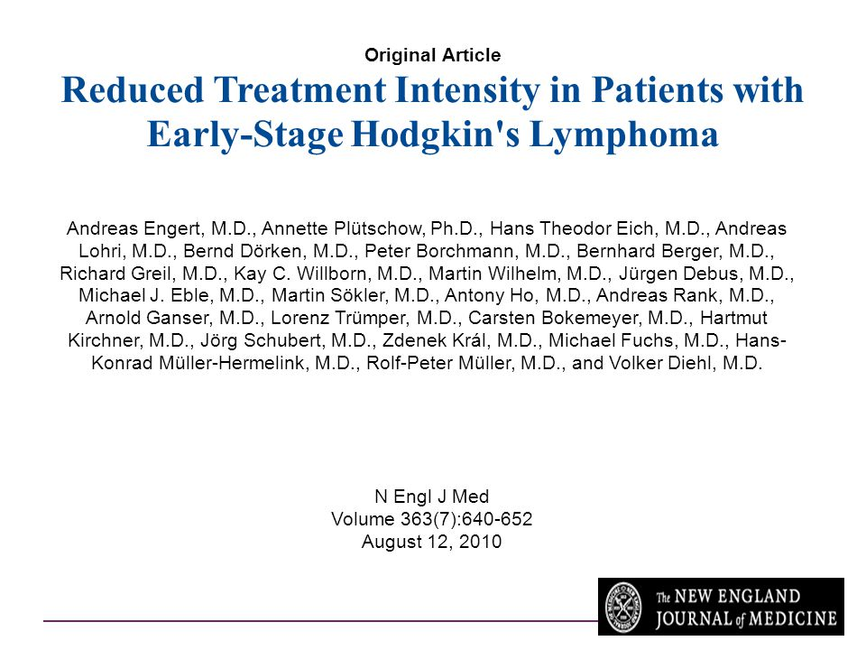 Original Article Reduced Treatment Intensity in Patients with Early-Stage Hodgkin s Lymphoma