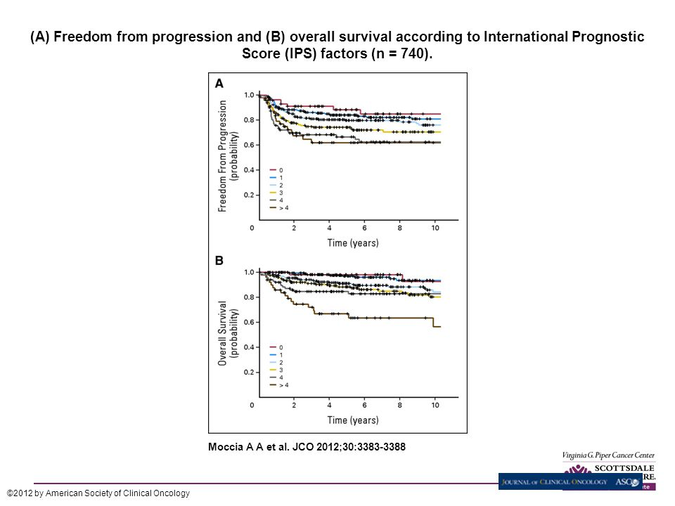 (A) Freedom from progression and (B) overall survival according to International Prognostic Score (IPS) factors (n = 740).