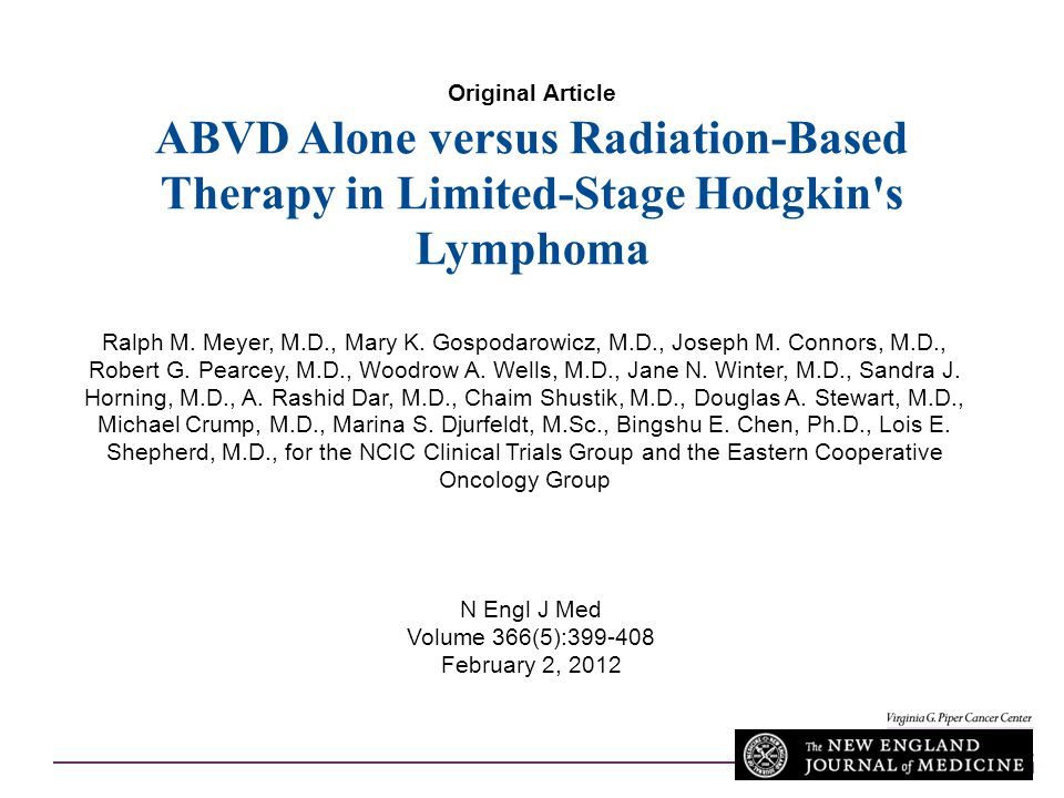 Original Article ABVD Alone versus Radiation-Based Therapy in Limited-Stage Hodgkin s Lymphoma