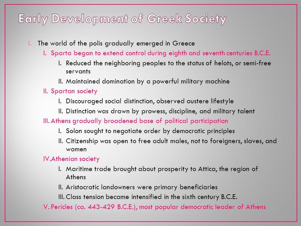 Early Development of Greek Society