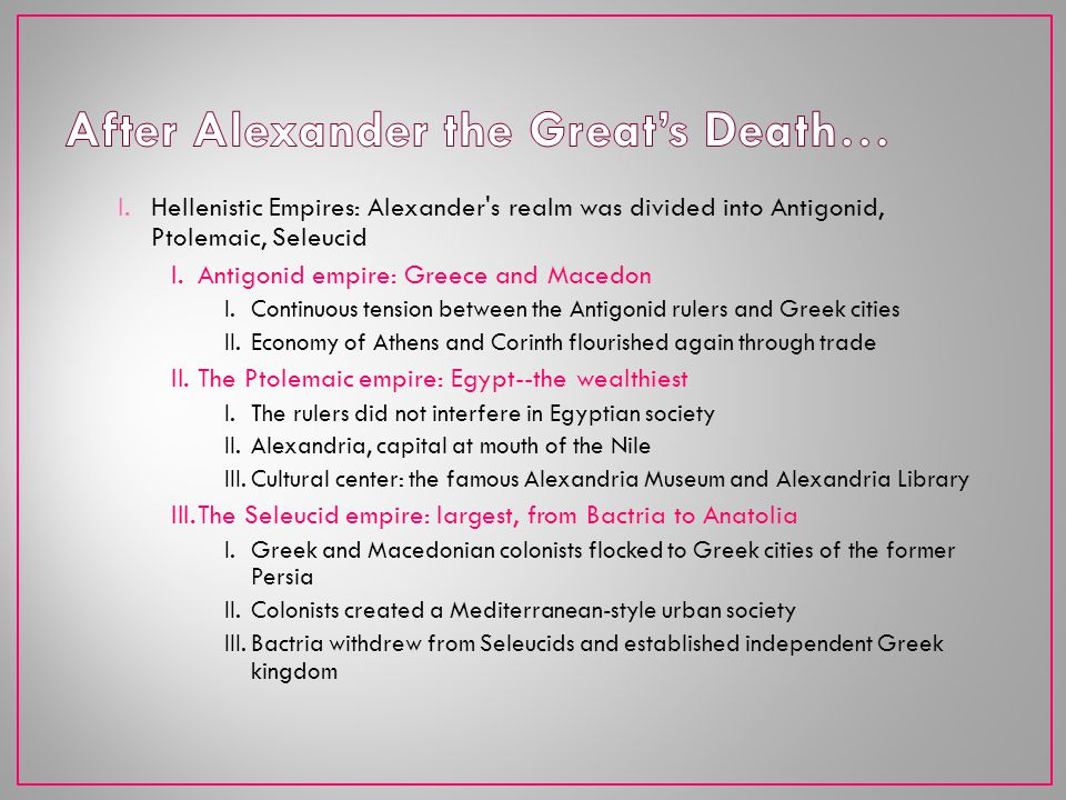 After Alexander the Great's Death…