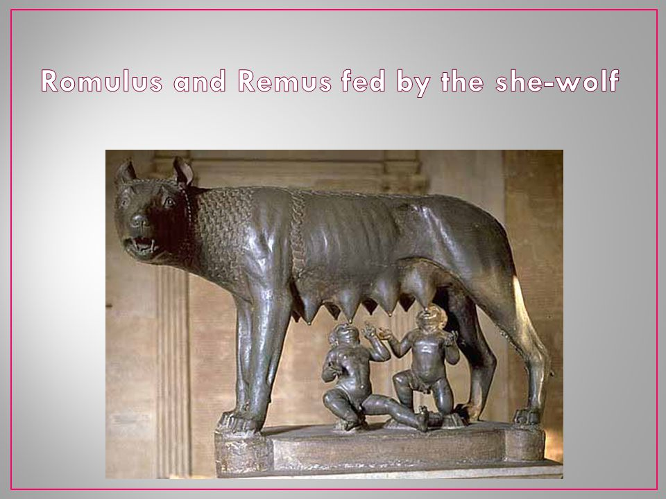 Romulus and Remus fed by the she-wolf