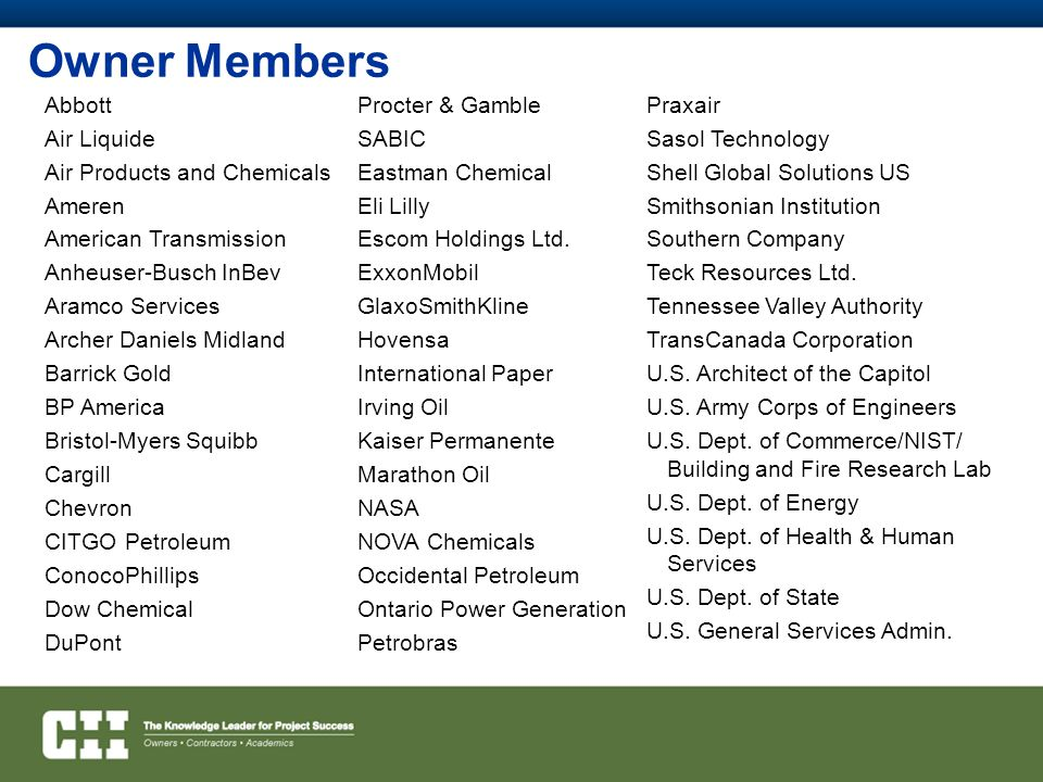 Owner Members Abbott Air Liquide Air Products and Chemicals Ameren