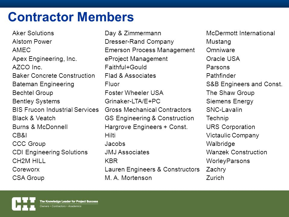 Contractor Members Aker Solutions Alstom Power AMEC