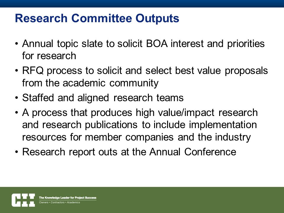 Research Committee Outputs