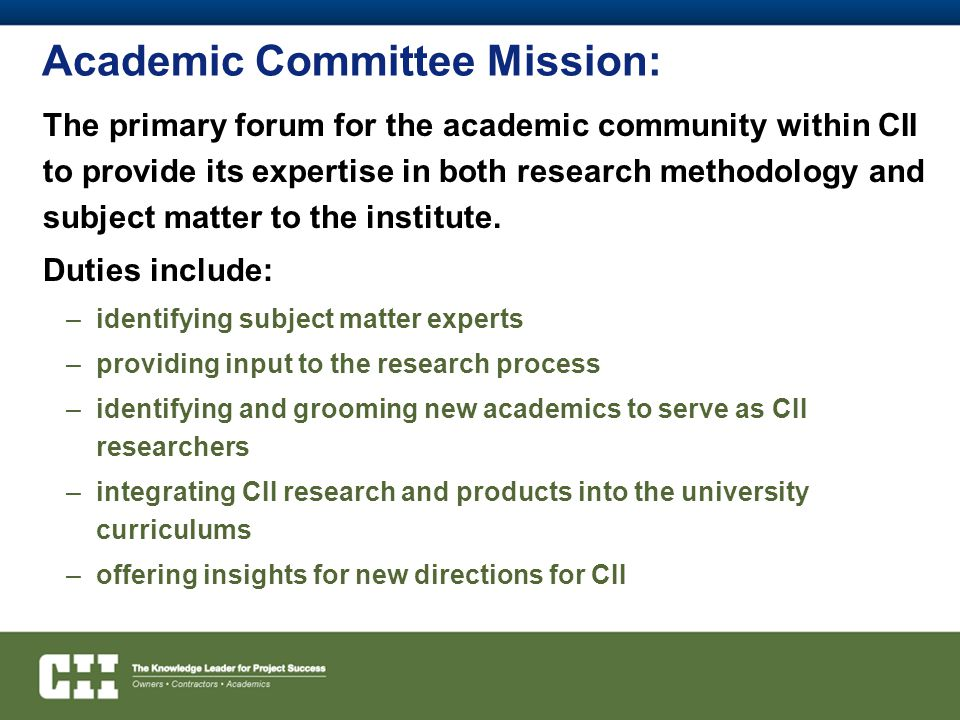Academic Committee Mission: