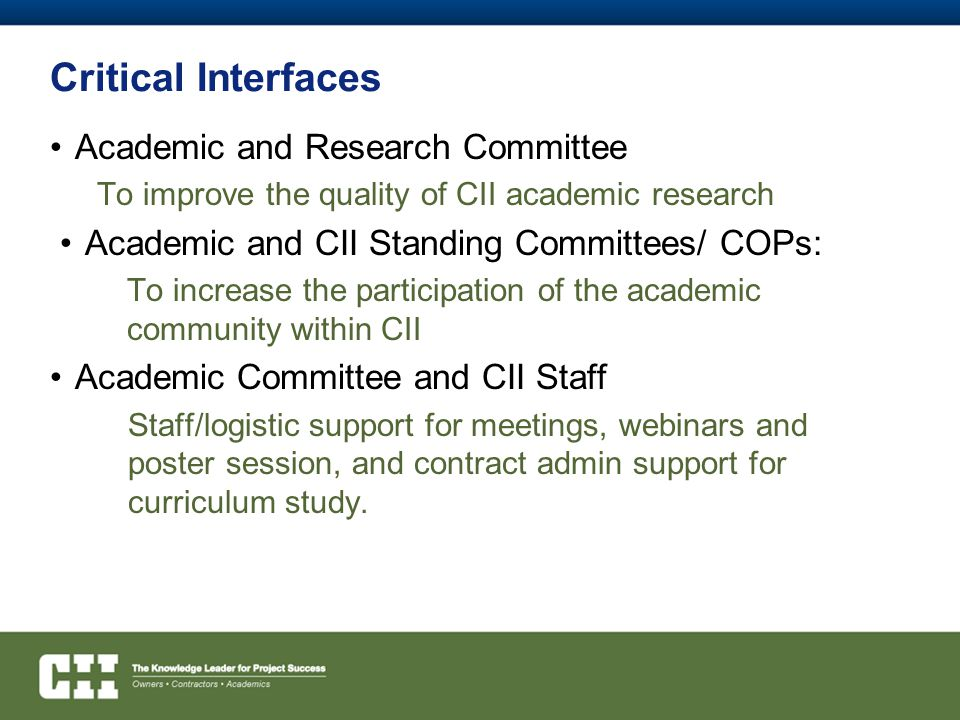 Critical Interfaces Academic and Research Committee
