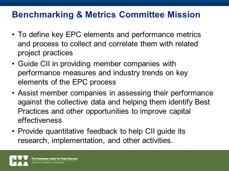 Benchmarking & Metrics Committee Mission