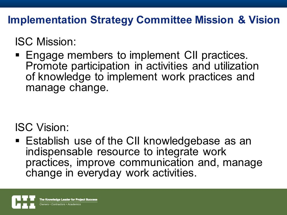 Implementation Strategy Committee Mission & Vision