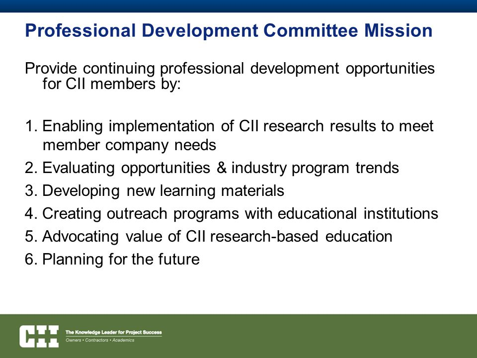 Professional Development Committee Mission
