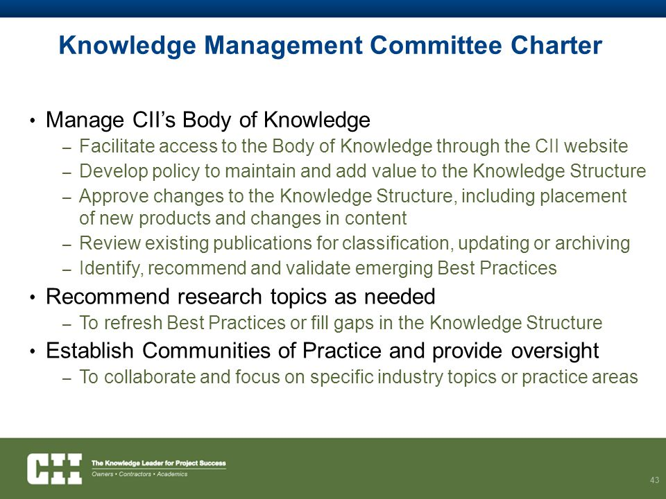 Knowledge Management Committee Charter