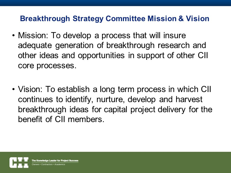 Breakthrough Strategy Committee Mission & Vision