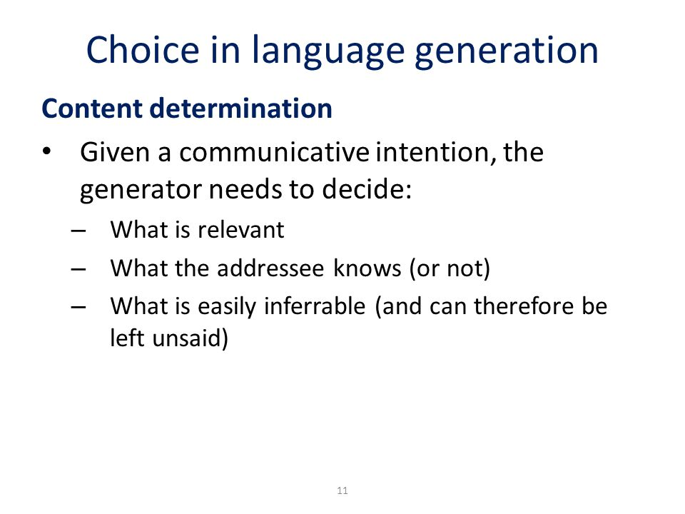 Choice in language generation