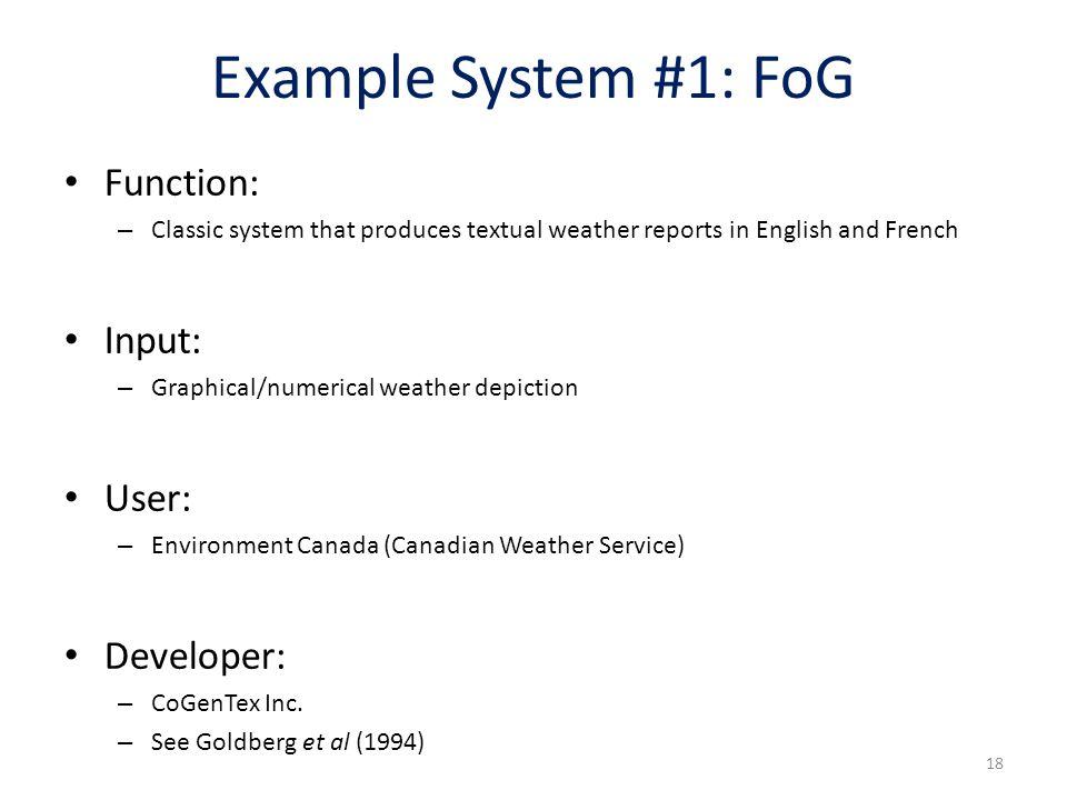 Example System #1: FoG Function: Input: User: Developer: