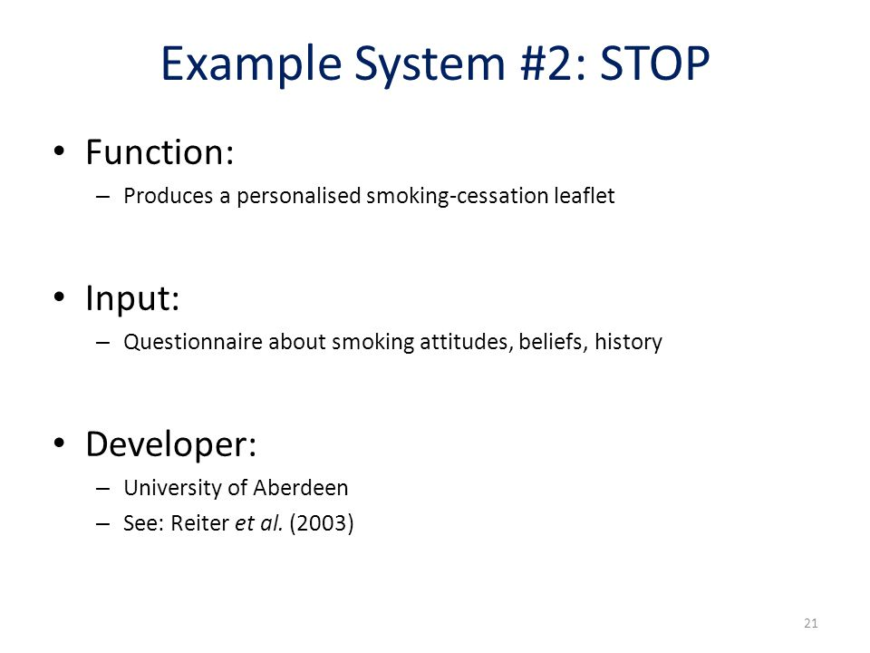 Example System #2: STOP Function: Input: Developer: