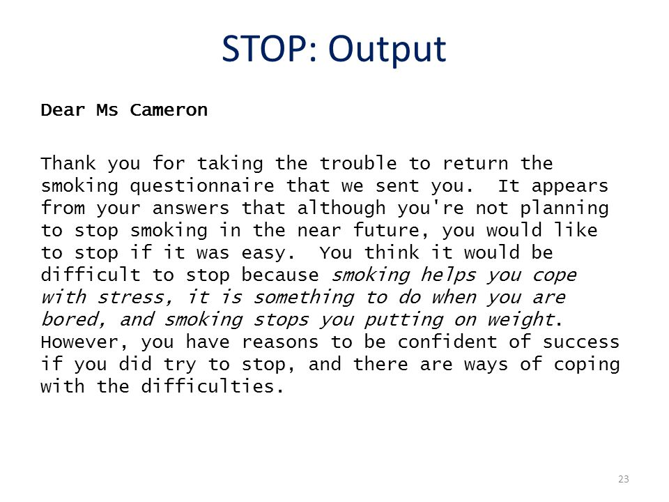 STOP: Output Dear Ms Cameron