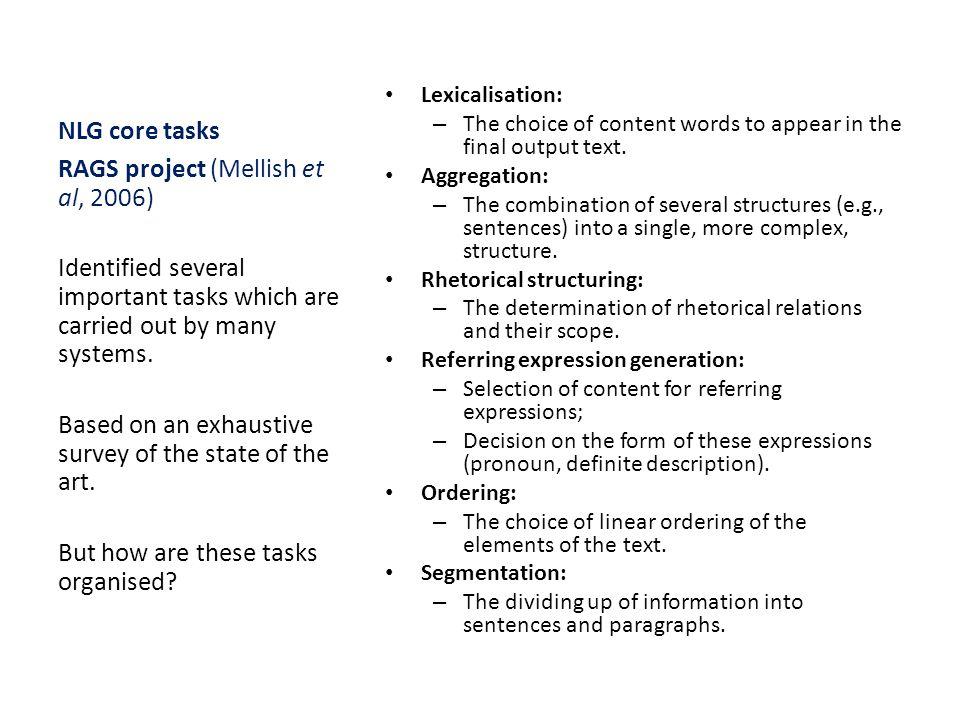 RAGS project (Mellish et al, 2006)