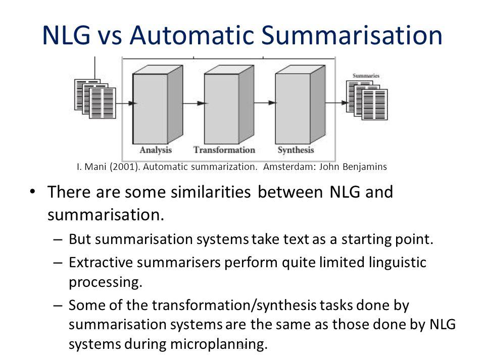 NLG vs Automatic Summarisation