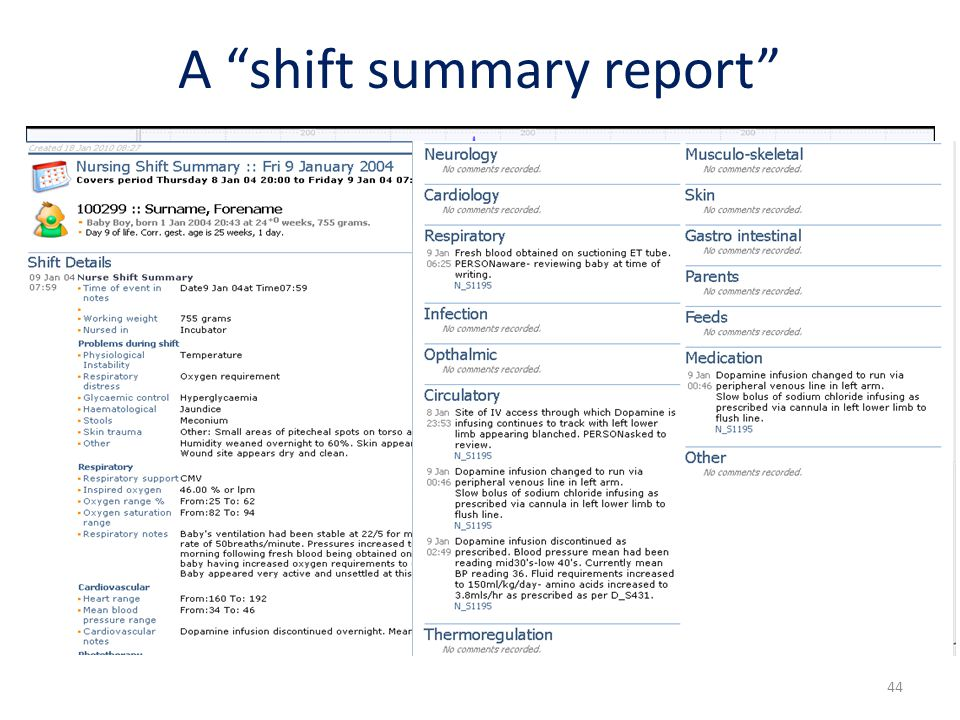 A shift summary report