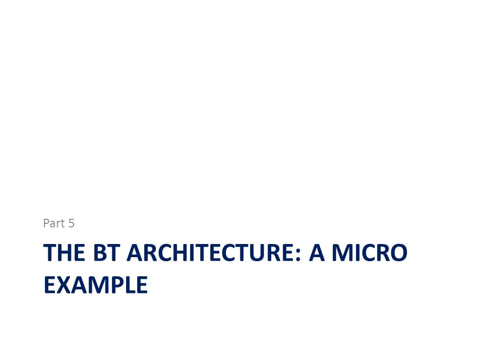 The BT architecture: a micro example