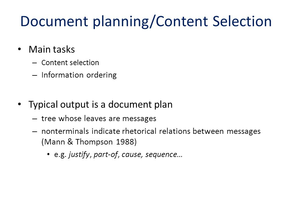 Document planning/Content Selection